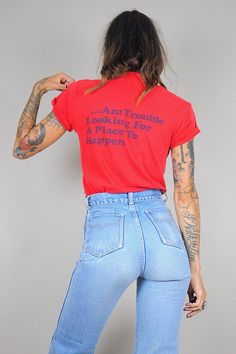 paper THIN vtg 70's red T-shirt  /// NOIROHIOV INTAGE