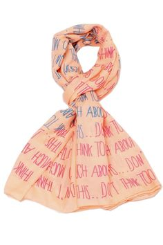 Before you juggle your warm weather wardrobe try diversifying your present pieces with summer scarves. Just one quirky tied scarf can make trending outfit look and feel brand new!  Size: 64'' x 34''  Two-Hearts Peach Scarf by Violet Del Mar. Accessories - Scarves & Wraps San Diego California