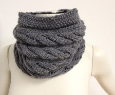 dark gray cable knit wool cowl