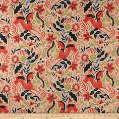 Cotton   Steel Rifle Paper Co. Les Fleurs Canvas Folk Horse Coral from @fabricdotcom  Designed by Rifle Paper Co. for Cotton   Steel, this medium weight (6 oz./square yard) cotton canvas fabric is perfect for tote bags, toss pillows, window treatments, apparel and more. Colors include coral, hunter green, periwinkle, natural, green and ivory.
