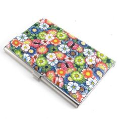 Polymer Clay Business Card  Case Flower Design by polymerclayshed