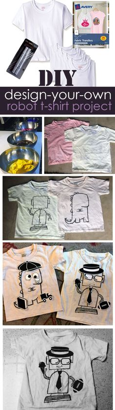"How to make ""design your own robot"" and ""design your own dinosaur"" t-shirt projects for kids for under $20 using natural dyes and iron-on patterns and accessories!"