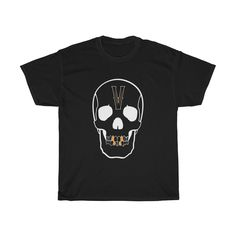 White graphic on black. Short Sleeve Tee, Short Sleeves, Casual Elegance, Cotton Tee, Victorious, Graphic Tees, Skull, Unisex, Mens Tops
