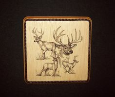 Whitetail Deer Collage Sketch Woodland & Wildlife Decor/Embroidery on Balsa Wood by WitchezStitchez on Etsy
