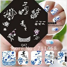 Nail Art Stamp Stamping Image Template Plate Blue and White Porcelain series 10 pieces/lot-in Nail Art Templates from Beauty & Health on Aliexpress.com