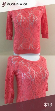 Coral lace top Sheer lace top. Excellent condition. Size S.   ❤️No trades or other websites ❤️Open to reasonable offers  ❤️Next day ship Mon-Sat ❤️4.9 rating ❤️200+ listings sold Tops