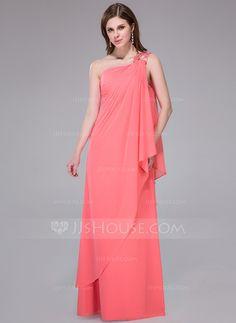 Holiday Dresses - $129.99 - Sheath/Column One-Shoulder Floor-Length Chiffon Holiday Dress With Beading Sequins Cascading Ruffles (017041070) http://jjshouse.com/Sheath-Column-One-Shoulder-Floor-Length-Chiffon-Holiday-Dress-With-Beading-Sequins-Cascading-Ruffles-017041070-g41070