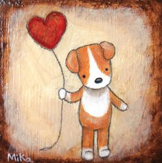Jack Russel Terrier Puppy Dog with Heart Balloon Original Painting Love Illustration Chocolate Brown Home Wall Decor Natural Earth Colors