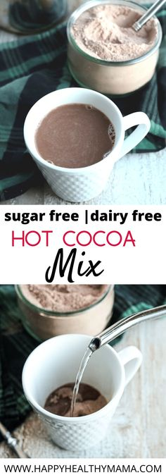 A homemade hot cocoa mix that's both dairy free and sugar free and really good. Perfect when you want a mug of hot chocolate on a cold winter day. Healthy for everyone. Keto and vegan friendly. Hot Chocolate Recipe Sugar Free, Vegan Hot Cocoa Recipe, Healthy Hot Chocolate, Homemade Hot Chocolate, Hot Chocolate Recipes, Cocoa Recipes, Sugar Free Recipes, Drink Recipes, Homemade Hot Coco