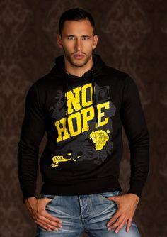 Sweat Homme noir a capuche No Hope en jaune Hip Hop Fashion par UnCadeauUnSourire.com