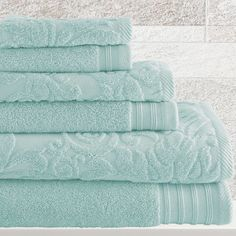 "6-Piece Simone Towel Set in Blue Perfect aqua color! ""well rested"" sale"