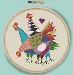 THREE HENS Modern Counted Cross Stitch Pattern by EccentricAvenue
