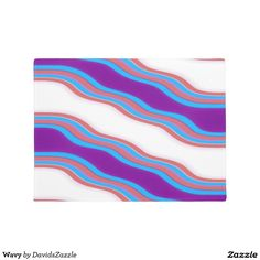 Wavy Pattern Door Mat  Available on many more products! Check out the link and type in the name of this design in the search bar on my Zazzle Products page!  #wavy #wave #pattern #cool #hip #chic #contemporary #modern #style #life #lifestyle #red #blue #purple #stripes #line #ripple #nice #home #decor #apartment #dorm #student #college #den #living #bedroom #bathroom #buy #sale #zazzle #forsale #door #mat