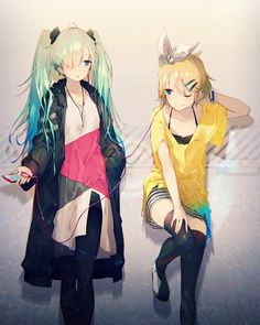 Anime picture 1600x2000 with   vocaloid  ipod  hatsune miku  kagamine rin  mizuya (caxas328)  long hair  tall image  blush  short hair  open mouth  blonde hair  fringe  smile  twintails  multiple girls  blue hair  standing  one eye closed  aqua hair  open clothes