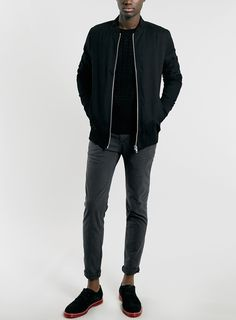 BLACK LONGLINE BOMBER JACKET - Mens Coats & Jackets - Clothing - TopMan Singapore
