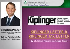 For years, we have stressed the importance of the Kiplinger Tax Letter as an essential tool for the originator and have endorsed it wholeheartedly. In fact, we feel it is so important that we have decided to purchase it, and several other key Kiplinger publications, for you.Check this out: http://www.christianpenner.com/kiplinger-letter-kiplinger-tax-letter/