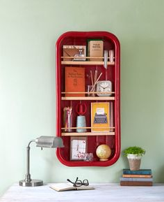 Remove the wheels from a little wed wagon to turn it into a wall shelf, perfect for holding office supplies.