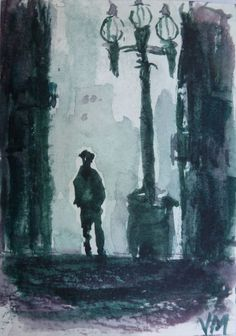 Urban shadows  ACEO Original Watercolor Painting collectible art card #Realism