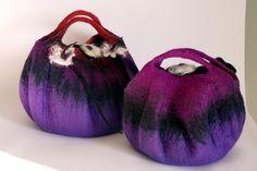 Purple felt purse small felt purse felt handbag wet felted fiber art  wool felt bag handmade in france. $89.00, via Etsy.