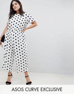 cde67d608ed5 ASOS DESIGN Curve spot print jumpsuit with short sleeve Plus Size Womens  Clothing, Plus Size