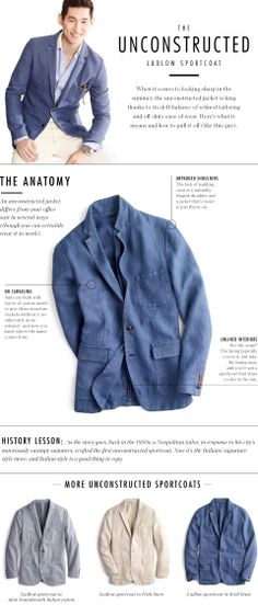 Unconstructed Sportcoats at J.Crew #infographic #sportscoat