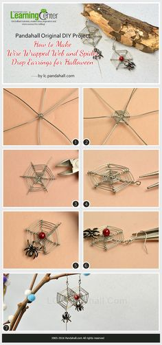 Pandahall Original DIY Project- How to Make Wire Wrapped Web and Spider Drop Earrings for Halloween