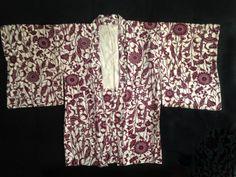 La pourpre royale et crème de soie Floral Haori Kimono