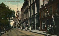 St. Joseph Street - rue Saint-Joseph vers 1900 - carte postale, domaine public, BAnQ.
