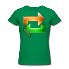 Reload Arrows  Women's Slim Fit T-Shirt by American Apparel  Slim-fitting Soft Jersey T-Shirt, 100% cotton, Brand: American Apparel   It is recommended to order a size up if looking for a more relaxed fit. Shrinkage levels fall within 3-4% of industry standards.