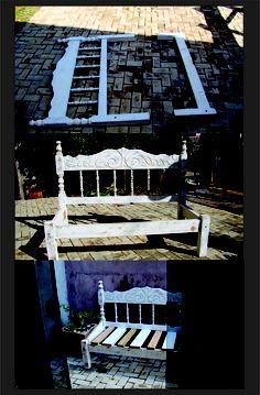 cama velha ganhada da madrinha virou banco de jardim ;)