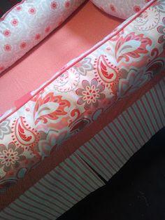 Coral and aqua again, I am loving it- YOU DESIGN Custom 3 piece Crib Bedding Set - Bumper, Skirt and Sheet Aqua and Coral