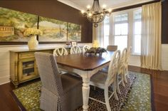 eclectic dining room by Kristin Petro Interiors, Inc.  horizontal wainscoting -perfect look for bathroom