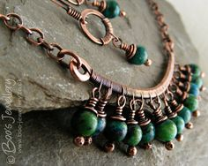 Antiqued copper and blue green Chrysocolla wire wrapped necklace