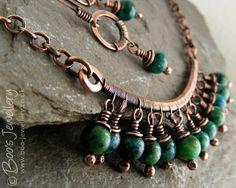 Reservados envejecida cobre y azul verde Crisocola alambre