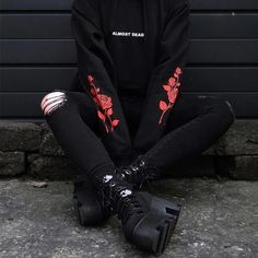 Gothic Hoodies ALMOST DEAD Rose Pattern sold by Triple L. Shop more products from Triple L on Storenvy, the home of independent small businesses all over the world. Edgy Outfits, Mode Outfits, Grunge Outfits, Girl Outfits, Fashion Outfits, Womens Fashion, Black Outfit Grunge, Black Hoodie Outfit, Grunge Fashion