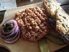 Wood Plank Steak Tartare Steak Tartare, Best Dining, Beer Garden, Wood Planks, Food, Beer, House, Meal, Timber Planks
