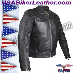 Mens Motorcycle Jacket with Cool Diamond Pattern / SKU USA-MJ821-DL