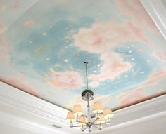 blue and pink cloudy sky ceiling mural