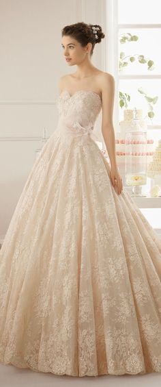 White and Gold Wedding. Sweetheart Corset Ballgown Dress. Aire Barcelona 2015 Bridal Collection