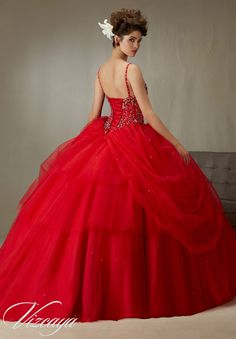 Quinceanera Dress  Vizcaya Morilee 89071 Beaded, boned corset bodice on a tulle ball gown  *removable beaded spaghetti straps* Colors: Coral, Scarlet, Capri and white  A back side view