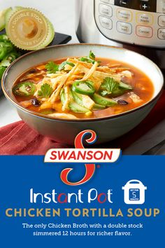 Our Instant Pot® Chicken Tortilla Soup gives a delicious twist to classic chicken soup. Start with basic chicken soup ingredients like chicken, veggies and chicken broth, then add in some spices, tomato paste, black beans and corn. The Instant Pot® brings Soup Recipes, Chicken Recipes, Cooking Recipes, Healthy Recipes, Healthy Breakfasts, Healthy Chicken, Instant Pot Pressure Cooker, Pressure Cooker Recipes, Vegetables