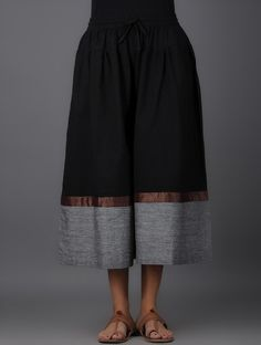Buy Black Grey Elasticated Tie up Waist Handwoven Mangalgiri Cotton  Culottes Women Pants Online at Jaypore ef7565979