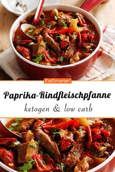 Ketogen & low carb: Paprika-Rindfleischpfanne - smarter - Kalorien: 450 kcal - Z. Low Carb Recipes, Beef Recipes, Chicken Recipes, Healthy Recipes, Protein Recipes, Smoothie Recipes, Law Carb, Healthy Snacks, Healthy Eating