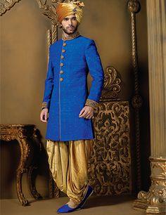 G3 exclusive blue silk men indo western
