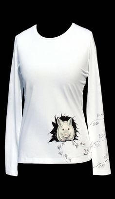 Hand painted T-shirtwhite mousepainting on clotheshandmade