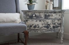 Distressed Furniture Tutorial (video). Like the base white and smeared blue on top. Like the super worn look. I've never tried dry smearing. I might have to give it a shot!