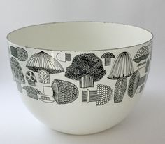 Vintage Mushroom Franck Kaj Finel Enamel Bowl. We totally had this bowl. Wonder if my mom still does?