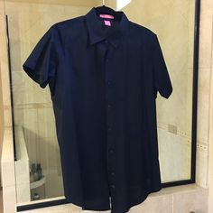 Black shirt 14/16 Note this is a Woman Within Size M, which corresponds to a 14/16. Woman Within Tops Button Down Shirts