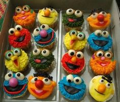 my sons first birthday cupcakes.  sesame street