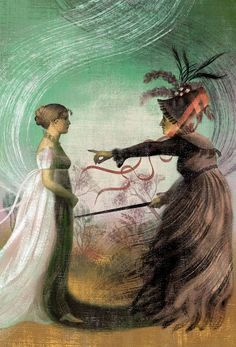 Jane Austen Centre  A wonderful illustration of the clash between Lady Catherine and Lizzy Bennet.  (Credit: Anna and Elena Balbusso)